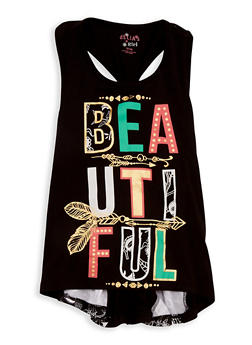 Girls 7-16 Beautiful Foil Graphic Tank Top - 1631054730001