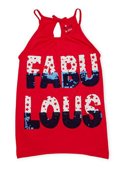 Girls 7-16 Sequined Fabulous Graphic Tank Top - 1631054730006