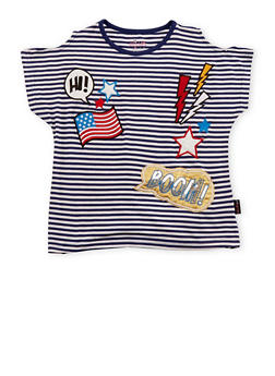 Girls 7-16 Striped Cold Shoulder Top with Patches - 1631054730007