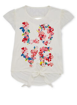 Girls 7-16 Floral Love Graphic Top - 1631054730010