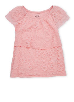 Girls 7-16 Off the Shoulder Lace Tiered Top - 1631054730012