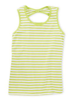 Girls 7-16 Striped Tank Top with Back Keyhole - 1631054737013