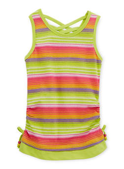 Girls 7-16 Striped Tank Top with Ruched Sides - 1631054737015