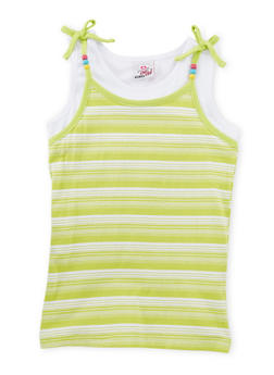 Girls 7-16 Striped Tank Top with Beaded Straps - 1631054737017