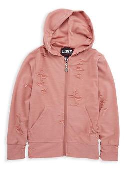 Girls 7-16 Distressed Zip Front Sweatshirt - 1631063400048