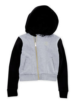 Girls 7-16 Sean John Color Block Fleece Hoodie with Zip Front - 1631072750001