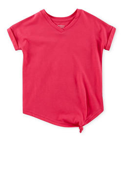 Girls 4-6x French Toast Side Knot V Neck Top - 1632068323321