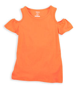 Girls 7-16 French Toast Coral Cold Shoulder Top - 1633068320040