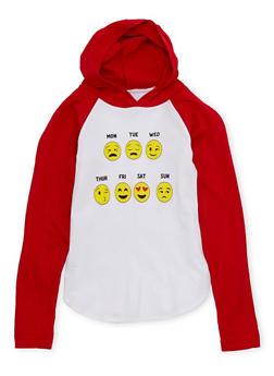 Girls 4-6x Hoodie with Days of the Week Emoji Graphic - 1634033870001