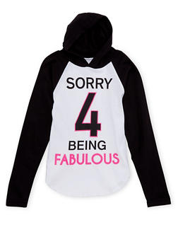 Girls 4-6x Hoodie with Sorry 4 Being Fabulous Graphic - 1634033870002