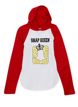 Girls 4-6x Hoodie with Snap Queen Graphic - 1634033870004