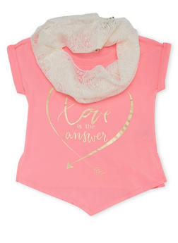 Girls 4-6x Graphic Tee with Asymmetrical Hem and Scarf - 1634061950060