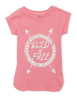Girls 4-6x Cap Sleeve Foil Wild and Free Graphic T Shirt - 1634061950062