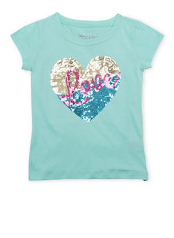 Girls 4-6x Tee with Sequined Heart and Love Graphic - 1634061950065