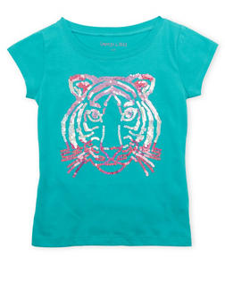 Girls 4-6x Tee with Sequined Tiger Graphic - 1634061950067