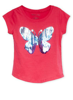 Girls 4-6x Tee with Sequined Butterfly Graphic - 1634061950068