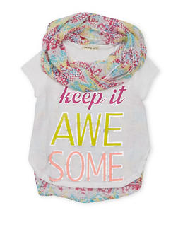 Girls 4-6X  Keep It Awesome Graphic T Shirt with Infinity Scarf - 1634061950070