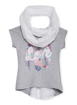 Girls 4-6x Love Feather Graphic Top with Crochet Scarf - 1634061950072