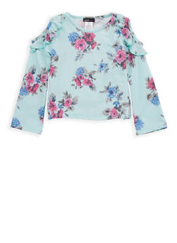 Girls 4-6x Floral Ruffled Cold Shoulder Top - 1634061950081