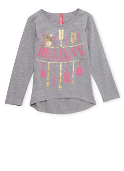 Girls 4-6x High Low Top with Believe in Yourself Arrow Graphics - 1634066590010