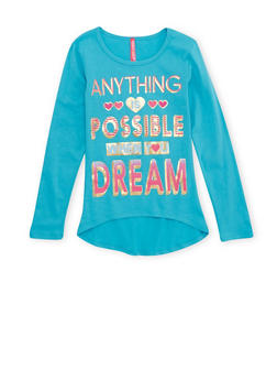 Girls 4-6x High Low Top with Anything is Possible Graphic - 1634066590011