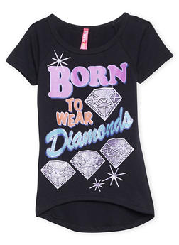 Girls 4-6x High Low Top with Born to Wear Diamonds Graphic - 1634066590037