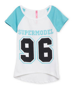 Girls 4-6x Raglan Tee with Supermodel 96 Print - 1634066590048