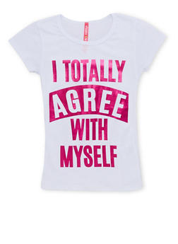 Girls 4-6x Tee with I Totally Agree With Myself Graphic - 1634066590054