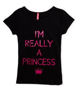 Girls 4-6x Tee with Princess Graphic - 1634066590055