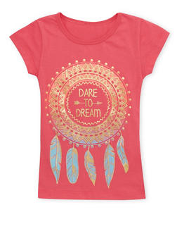 Girls 4-6x Tee with Dare to Dream Graphic - 1634066590057
