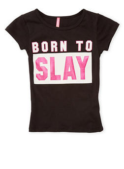 Girls 4-6x Born to Slay Graphic Top - 1634066590124