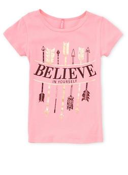 Girls 4-6x Believe in Yourself Graphic Top - 1634066590136