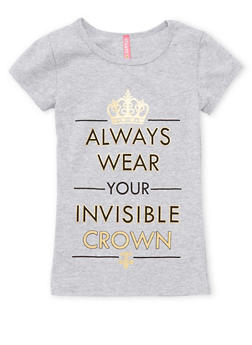 Girls 4-6x Invisible Crown Graphic T Shirt - 1634066590137