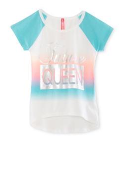 Girls 4-6x Queen Foil Graphic Raglan T Shirt - 1634066590143