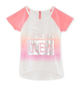 Girls 4-6x Queen Foil Graphic Raglan T Shirt - 1634066590143