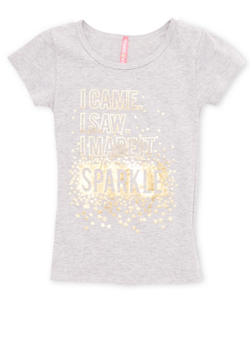Girls 4-6x I Came I Saw I Made It Sparkle Graphic T Shirt - 1634066590151