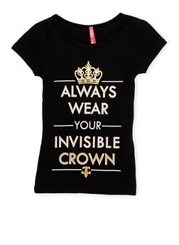 Girls 4-6x Tee with Crown Graphic - 1634066599057