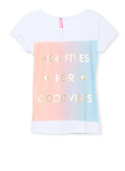 Girls 4-6x Short Sleeve Top with High Fives Good Vibes Print - 1634066599059