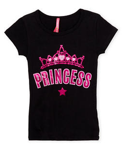 Girls 4-6x Short Sleeve Top with Princess Graphic - 1634066599060