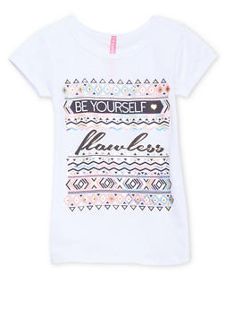 Girls 4-6x Tee with Be Yourself Flawless Graphic - 1634066599061