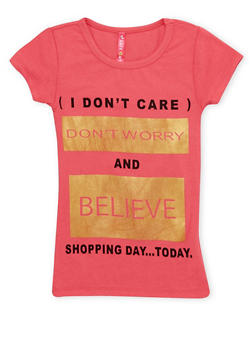 Girls 4-6x Tee with Dont Worry Graphic - 1634066599063