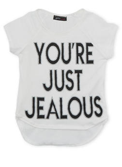 Girls 4-6x Graphic High Low Top with Youre Just Jealous Print - 1634072170032