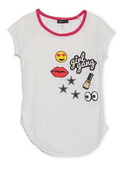 Girls 4-6x Ringer Tee with Printed Patches - 1634072170042