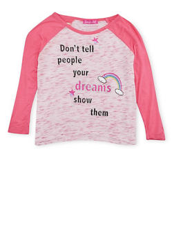 Girls 4-6x Raglan Top with Dreams Graphic - 1634072170045