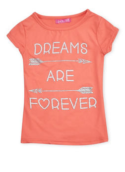 Girls 4-6x Short Sleeve Top with Dreams Graphic - 1634072170046