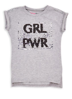 Girls 4-6x Studded Reversible Sequins Top - HEATHER - 1634073990001
