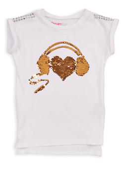 Girls 4-6x Studded Reversible Sequins Top - WHITE - 1634073990001