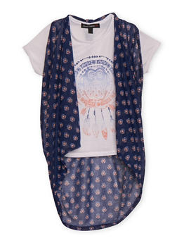 Girls 7-16 Graphic Tee with High Low Vest - 1635015990001