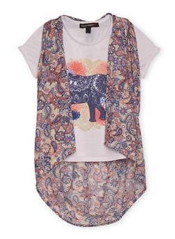 Girls 7-16 Graphic Tee with Paisley T Back Vest - 1635015990002
