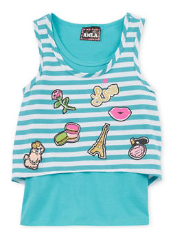 Girls 7-16 Layered Striped Graphic Tank Top - 1635021280005
